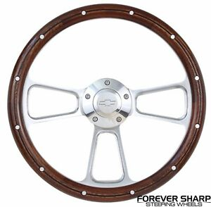 69 94 Chevy Nova Gm 14 Mahogany Wood Aluminum Rivets Muscle Steering Wheel Set