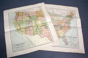 Original 1887 Maps Of United States East West Chambers S Encyclopedia Collier