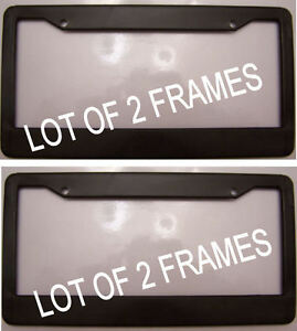 Lot Of 2 Black Plastic Blank No Advertisement Or Text Ad License Plate Frame