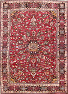 Excellent Vintage Medallion Floral Red 10x14 Mashad Persian Oriental Area Rug