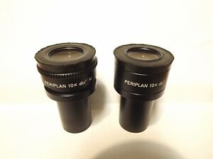 A Pair Of Leitz Periplan 10x 10x M Adjustable Microscope Eyepieces 23mm