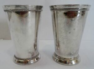 2 Vtg 5 1 2 Tall Chalice Goblet Silverplated 13 2 Oz Each Heavy Duty Tarnish