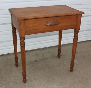 Primitive Pine Wood Tapered Leg 1 Drawer Side Hall Night Cabin Table Stand Old