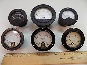 Lot Of 6 Dc Ac Panel Meters Weston Hickok Westinghouse