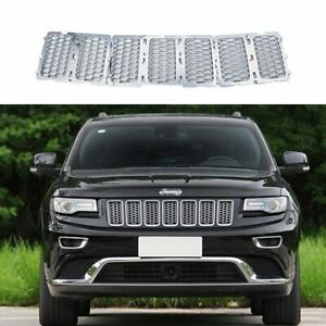 7x Front Mesh Grille Inserts Cover Kit For Jeep Grand Cherokee 2014 2016 silver
