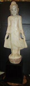 Antique Burmese Burma Large White Marble Alabaster Buddha Statue On Stand C1850