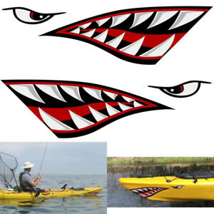 Alemon Shark Teeth Mouth Reflective Decals Sticker Graphics For Fishing Boat Car