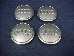 Audi A3 A6 Button Gray With Chrome Ring Center Caps Set Of 4 Oem