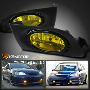 For 2001 2003 Honda Civic 2 4dr Yellow Amber Lens Fog Lights Lamps W Switch