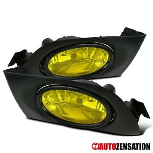 For 2001 2003 Honda Civic 2 4dr Yellow Amber Fog Lights Bumper Lamps Switch