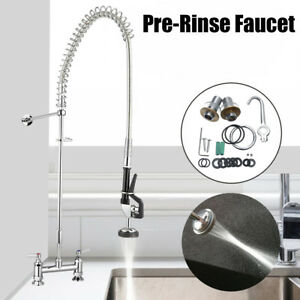 Pull Out Commercial Pre rinse Kitchen Faucet Sink Mixer Tap Wall Mounted