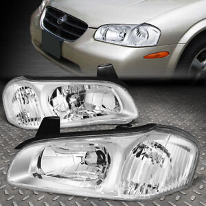 For 00 01 Nissan Maxima Chrome Housing Clear Corner Headlight Replacement Lamps