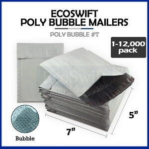 1 12000 t 5x7 ecoswift Poly Bubble Mailers Padded Shipping Envelopes 5 X 7