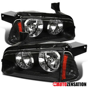 For 2006 2010 Dodge Charger Black Headlights Corner Signal Lamps Amber