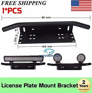 23 Bull Bar Front Bumper License Plate Mount Bracket Led Light Holder Offroad