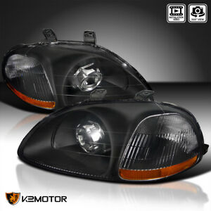 For 1996 1998 Honda Civic Black Retrofit Projector Headlights Lefrt Right Lamps