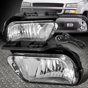 For 02 06 Chevy Avalanche Silverado Clear Lens Bumper Fog Light Lamps W switch