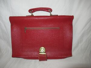 Vintage Pebble Red Leather Binder Zipper Planner Briefcase Organizer Laptop