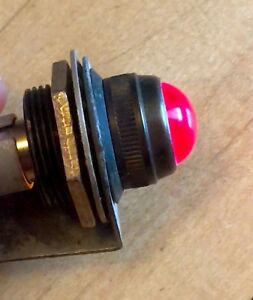Vintage Red Glass Lens Dash Gauge Panel Light Hot Rod 5 8 Military Dialco