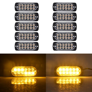 10x Amber 12led Emergency Strobe Flash Lights Bar Car Hazard Beacon Warning Lamp