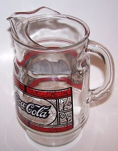 Vintage Large Tiffany Style Stained Glass Coca-Cola Glass Pitcher