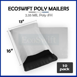 10 13x15 White Poly Mailers Shipping Envelopes Self Sealing Bags 2 35 Mil