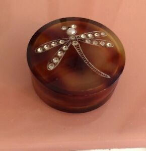 Vintage French France Faux Tortoise Shell Pin Box Etched Firefly Pave Stones