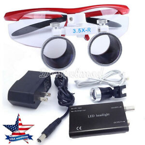 Us Dental 3 5x Surgical Magnifier Medical Binocular Loupes With Led Light Lamps
