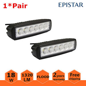 2pcs 6inch 18w Led Work Light Bar Flood Driving Lights Offroad Fog 4wd Boat Suv