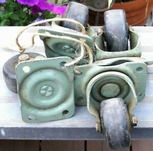 Vintage 4 Noelting Faultless Casters Heavy Duty Industrial Steel Size 100 2 1 2