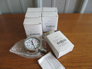 Lot Of 6 Stainless 2 Pressure Gauge Gage 1 4 npt 0 160psi Ss 4fmk8 u 75 x6