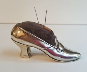 Antique Gorham Sterling Figural Lady S High Heel Shoe Seamstress Pin Cushion