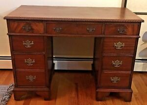 Antique Solid Mahogany 7 Drawer Kneehole Desk