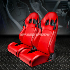 2 X Fully Reclinable Pvc Leather Racing Sports Seat Seats Slider Rails Red Black