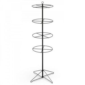 Floor Ring Spinner Display Rack 4 Tier 16 Dia black