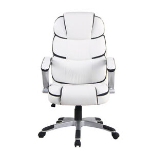 Pu Leather Office Chair Swivel Executive Chair Computer Desk Seat Chairs White