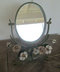 Vintage Mid Century Moss Green Tole Painted Vanity Swivel Mirror Italy
