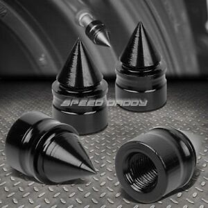 4 X Aluminum Tire rim Valve wheel Air Port Dust Cover Stem Cap caps Rt011 Black