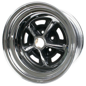 Wheel Vintiques 54 5812042 Mustang Magnum 500 Wheel 15 x8 Chrome black Inserts