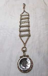 Antique Victorian Watch Chain Mother Of Pearl Carnelian Intaglio Fob Hl