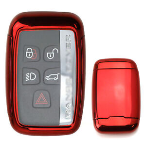 Chrome Red Tpu Key Fob Case W Button Cover For Land Rover Range Rover Jaguar