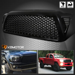 Fits 2005 2011 Toyota Tacoma Glossy Black Abs Upper Front Hood Mesh Grille Grill