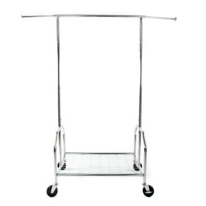 Chrome Single Rail Mesh Shelf Clothing Garment Rolling Collapsible Rack Hanger