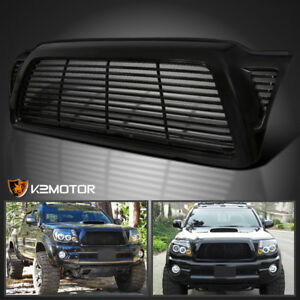 Fits 2005 2011 Toyota Tacoma Glossy Black Front Horizontal Billet Hood Grille