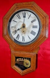 Antique 8 Day Sessions Schoolhouse Wall Regulator Clock Working Forestville Conn