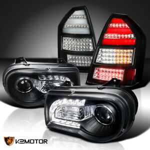 Black 05 07 Chrysler 300c Led Strip Projector Headlights Led Tail Lights