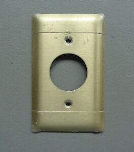 Vintage Used P S Brass Round Outlet Cover Plate Solid Brass P2