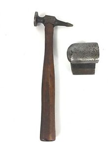 Antique Snap On Auto Body Fender Repair Hand Anvil And Hammer