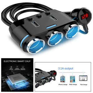 Portable Car Cigarette Lighter 3 Way Socket Splitter Plug 1a 2 1a 100w For Phone