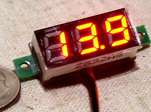 Small 3 Digit Red Led 2 Wire Automotive Dc Car Battery Volt Meter Monitor 3 30v